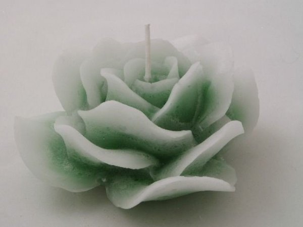 Świeca ozdobna - Róża - Zieleń - 15x7cm