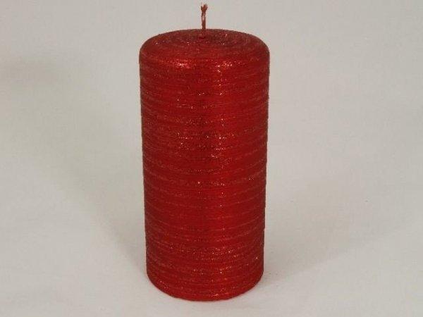 Świeca ozdobna - Red velvet - 7x15cm