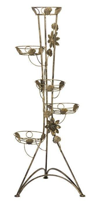 Kwietnik metalowy - Stojak na kwiaty - Kolumna 5-ka z różą