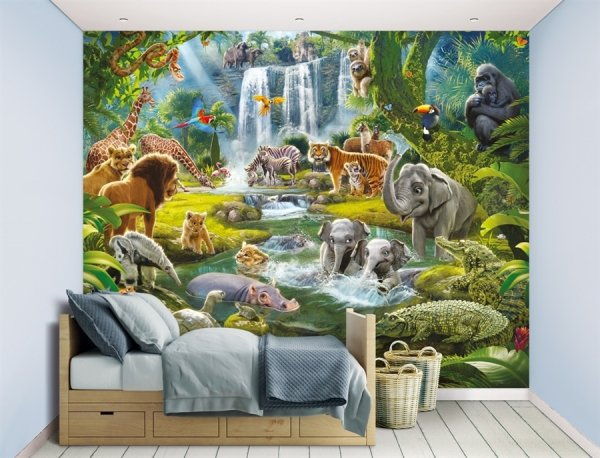 Fototapeta dla dzieci - Jungle Adventure - 3D - 243,8x304,8 - dekoracje do pokoju dziecka - decoart24.pl