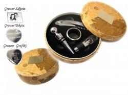 Zestaw do Wina w Okrągłym pudełku +GRAWER