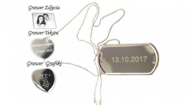 Zawieszka Nieśmiertelnik L+Łańcuszek 60cm Srebro 925+GRAWER Zdjęcia