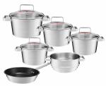 Zestaw garnków Ambition Selection + pokrywy + patelnia 24cm + wkład do gotowania na parze | 31030/31031/31032/31033/31034/31035 | 10PCS