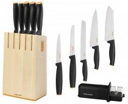 Noże Fiskars 1014211 Functional Form 5 noży + blok  | DREWNIANY + Ostrzałka Fiskars 1023811 Roll-Sharp™