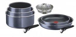 Garnki Tefal 16/18/20 cm i patelni 24/28 cm Ingenio Elegance + koszyk do gotowania na parze
