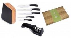 Zestaw noży Gerlach Loft - 5 noży + drewniany lakierowany blok + Ostrzałka Gerlach NK 606 + Deska Gerlach 30x24 cm
