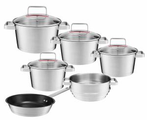 Zestaw garnków Ambition Selection + pokrywy + patelnia 24cm + wkład do gotowania na parze   31030/31031/31032/31033/31034/31035   10PCS