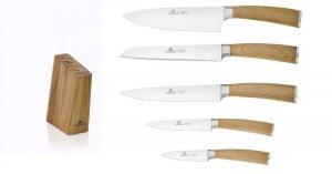 Noże Gerlach 320 Natur zestaw noży + blok | Dębowy blok i rękojeści
