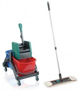 Zestaw Leifheit Professional   Wózek do sprzątania Leifheit Duo + Mop Płaski Leifheit Professional z nakładką   59101/59103