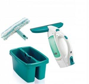 Zestaw: Odkurzacz, myjka do szyb, okien Leifheit Wet&Dry + wiadro dwukomorowe | 51002/52001