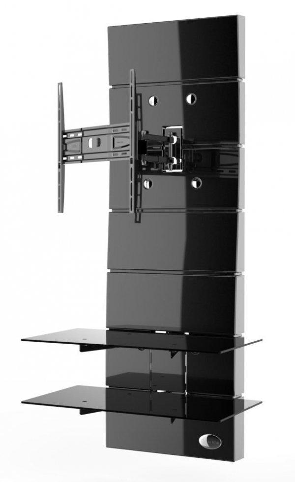 Półka pod TV z maskownicą Meliconi GHOST DESIGN 3000 z rotacją | CZARNA