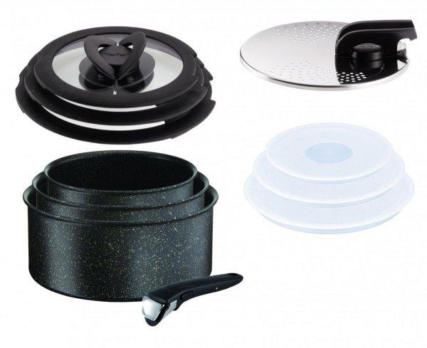 Garnki Tefal L67190 Ingenio Authentic FORCE 16/18/20 cm + rączka + Pokrywy szklane i plastikowe 16/18/20 cm + Uniwersalna pokrywa do odcedzania