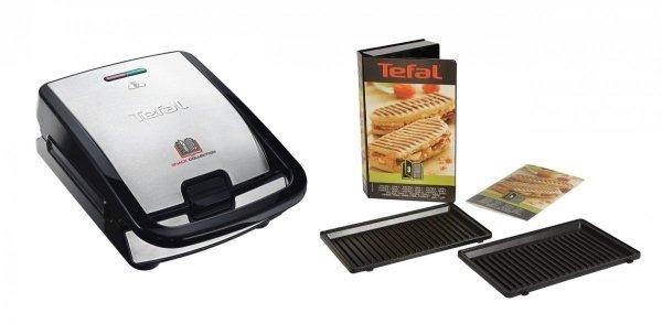 Opiekacz Tefal Snack Collection SW 852D 12 | 3 płyty w zestawie: kanapkowa, gofrowa, panini