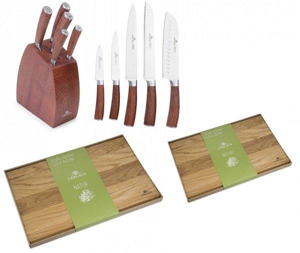 Noże Gerlach 979 COLONIAL | zestaw 5 noży w bloku | + Deska NATUR 30x24 i 45x30 cm