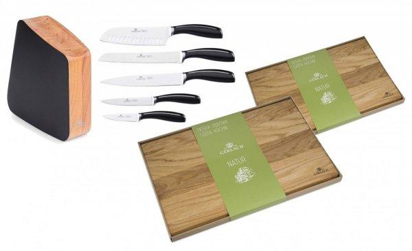 Zestaw noży Gerlach 981 Loft - 5 noży + drewniany lakierowany blok + Deska Gerlach 320 Natur 30x24 cm + Deska Gerlach 320 Natur 45x30 cm