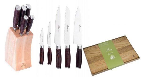 Noże Gerlach 991 Deco Wood + Deska Gerlach Natur 30x24 cm