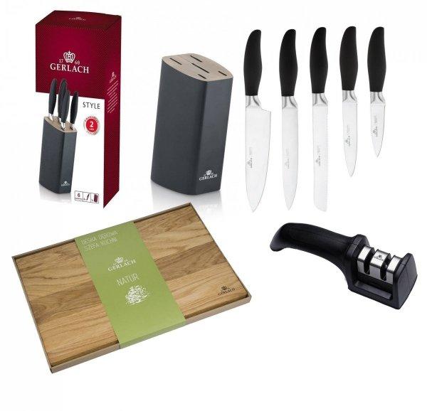 Noże Gerlach 986 Style zestaw 5 noży + blok CZARNY   Ostrzałka Gerlach   Deska Gerlach Natur 45x30 cm