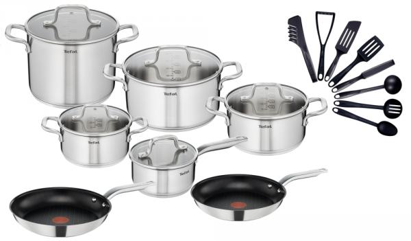 Tefal Garnki Patelnie 24/28cm Virtuoso na indukcję + akcesoria kuchenne | Zestaw 20 częściowy | E492SA/A70304/A70306/BIENVENUE
