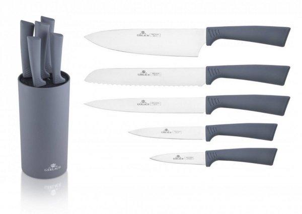 Zestaw noży Gerlach 994 Smart w bloku (5 sztuk) kolor: szary