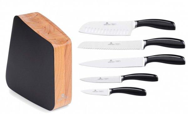 Zestaw noży Gerlach 981 Loft - 5 noży + drewniany lakierowany blok