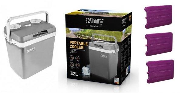 Lodówka turystyczna Camry CR 93 (32 litry/zasilanie 12V/230V) + 3 wkłady chłodzące