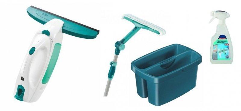 Odkurzacz do szyb Leifheit 51000 Dry & Clean (Myjka) + Myjka 3w1 51120 + Wiaderko 52001 + Płyn do szyb 41409
