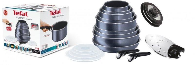 Zestaw Tefal L23196 52 Ingenio Elegance 16 PCS | 3x garnki + patelnie i akcesoria + pokrywy szklane + pokrywa do smażenia