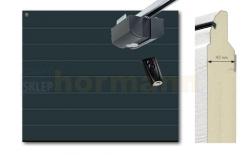Brama automatyczna ISOMATIC 42 mm, 2500 x 2125, Przetłoczenia M, Woodgrain, antracyt RAL 7016, z napędem elektrycznym