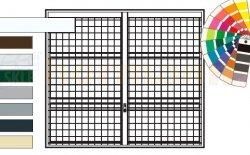 Brama uchylna N 80, 2500 x 2375, Wzór 903 spawana krata 100 x 100 x 5 mm, kolor do wyboru