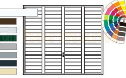 Brama uchylna N 80, 2250 x 2075, Wzór 904 Okrągłe profile Ø 12 mm, Odstęp 100 mm, kolor do wyboru