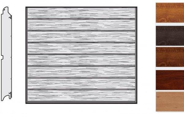 Brama LPU 42, 2440 x 2080, Przetłoczenia M, Decograin, okleina drewnopodobna