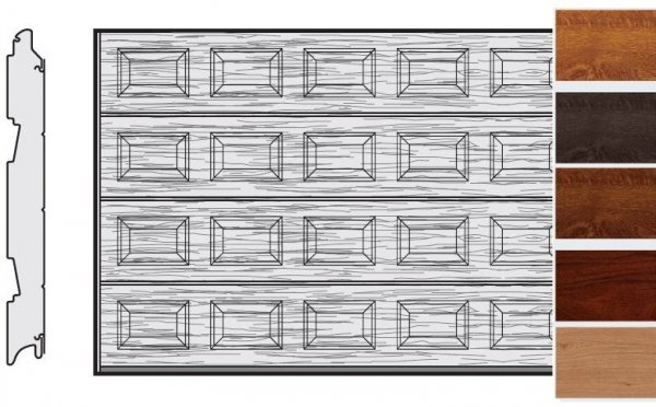 Brama LPU 42, 4000 x 2125, Kasetony S, Decograin, okleina drewnopodobna