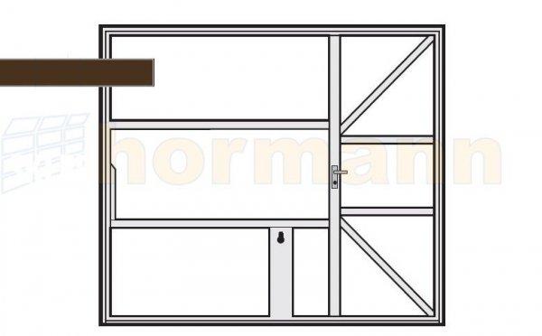 Brama uchylna N 80, 2375 x 2000, Wzór 905 z drzwiami, do wypełnienia