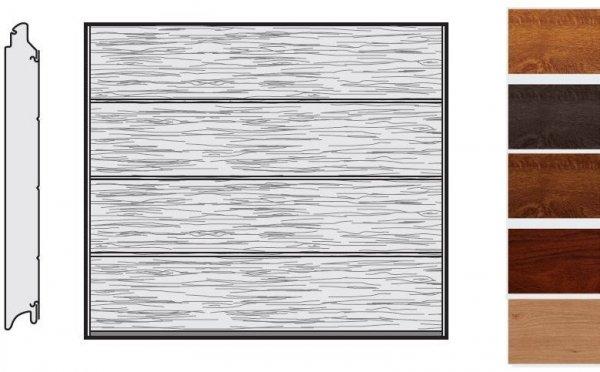 Brama LPU 42, 2440 x 2080, Przetłoczenia L, Decograin, okleina drewnopodobna