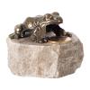 Figurka na szczęście, metalowa żaba na granitowym postumencie. Rozmiar 5x5 cm