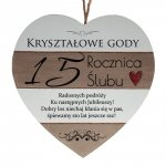 Drewniana tabliczka w kształcie serca z napisem  15 rocznica ślubu...