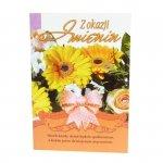 Kartka Z Okazji Imienin, biket kwiatów, słonecznik i wstążka