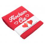Ręcznik haftowany 'Kocham Cię'  w kolorze czerwonym