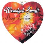 Drewniana tabliczka w kształcie serce z napisem 'Wesołych Świąt'. Wzór 36. Rozmiar 10cm