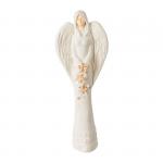 Anioł z bukietem kwiatów z gipsu w kolorze białym z brązowo-złotym wykończeniem kwiatów. Wysokość 38.5 cm
