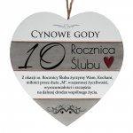 Drewniana tabliczka w kształcie serca z napisem  10 rocznica ślubu...