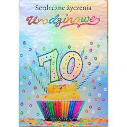 Karnet Silver serdeczne życzenia urodzinowe 70