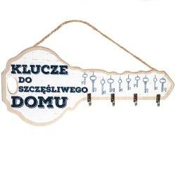 Tabliczka drewniana klucz z napisem Klucze do szczęśliwego domu, kolor biały