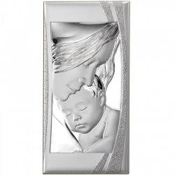 Obrazek srebrny przedstawiający wizerunek Madonny z dzieciątkiem