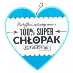 Drewniana tabliczka w kształcie serca100% SUPER CHŁOPAK