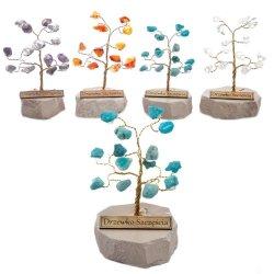Drzewko szczęścia. Ok. 15 kamieni szlachetnych. Rróżne rodzaje. Średnica 5 cm wys. 7 cm.