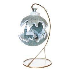 Kula świąteczna mała LED/kościół - aqua