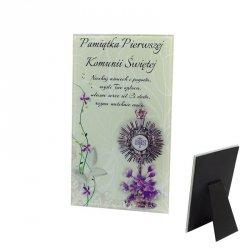 Ramka szklana Pamiątka Pierwszej Komunii Świętej, druk UV wzór 1
