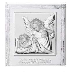 Obrazek Anioł Stróż z podpisem na białym drewnie