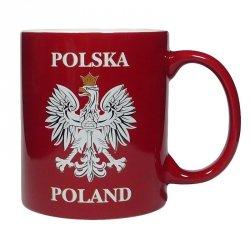 Kubek ceramiczny czerwony z orłem